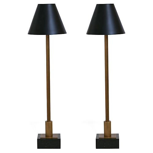 S/2 Marais Table Lamps, Aged Brass/Black