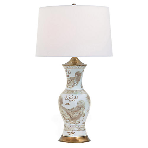 Chow Table Lamp, Brown/White