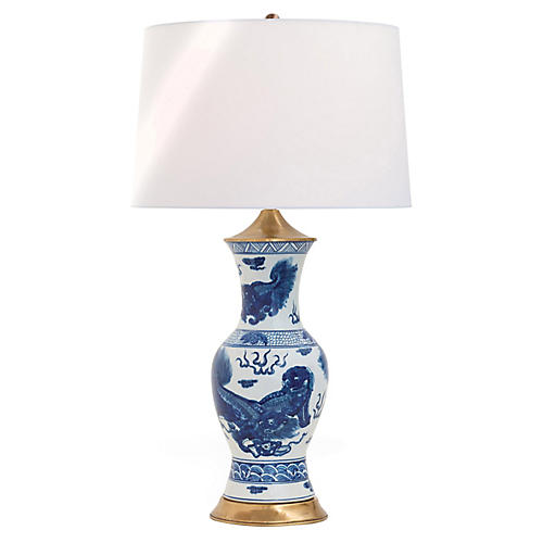 Chow Table Lamp, Blue/White