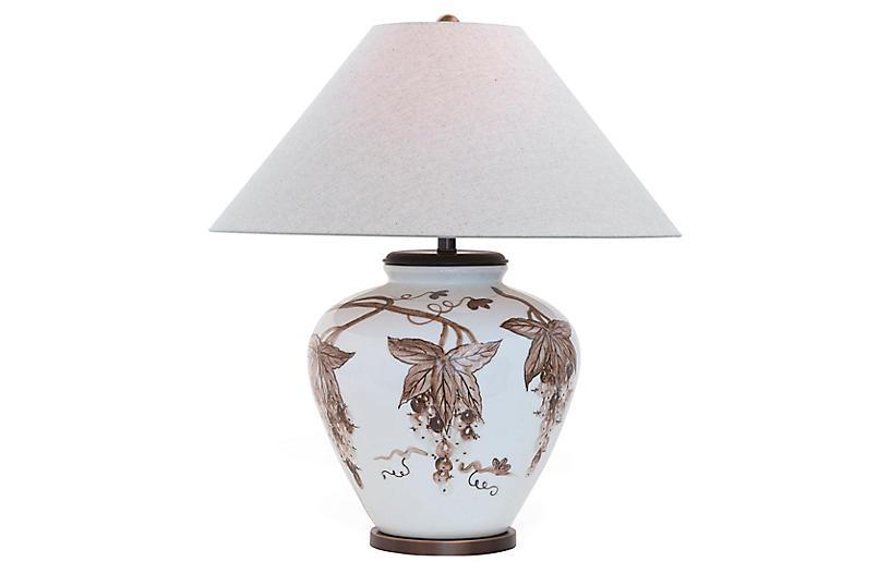 Napa Table Lamp, White/Brown