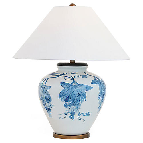 Napa Table Lamp, White/Blue