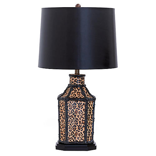 Amelia Table Lamp, Faux Leopard/Black