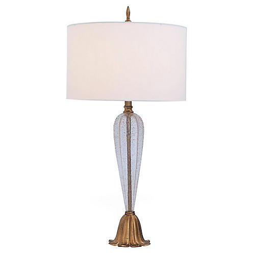 Tulip Table Lamp, Champagne/Off-White