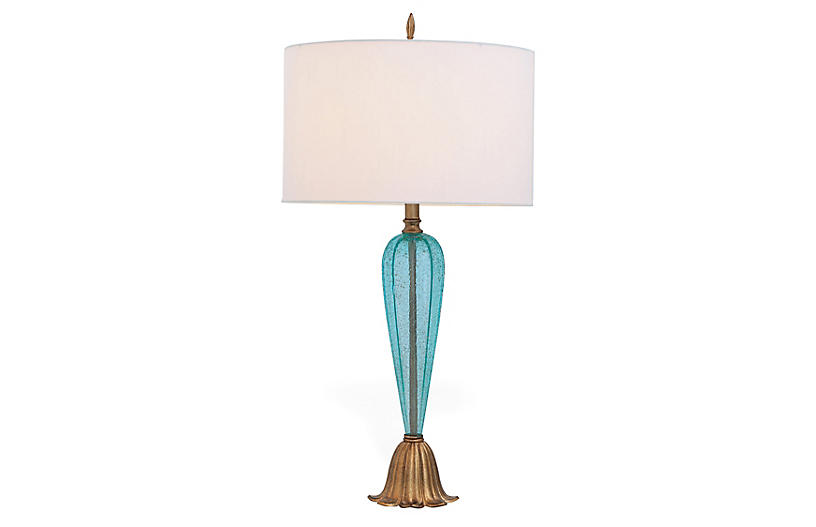 Tulip Table Lamp, Turquoise/Gold Leaf