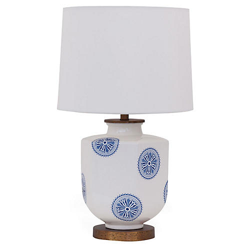 Temba Accent Lamp, Cream/Blue