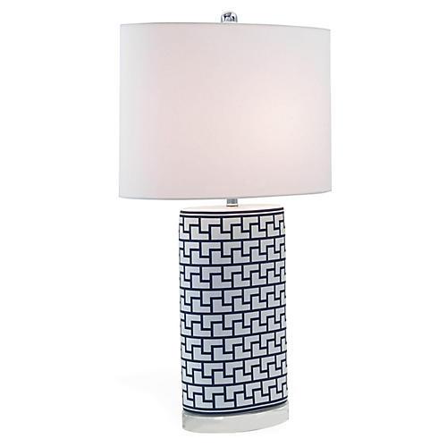 Paul Table Lamp, Deep Indigo/White