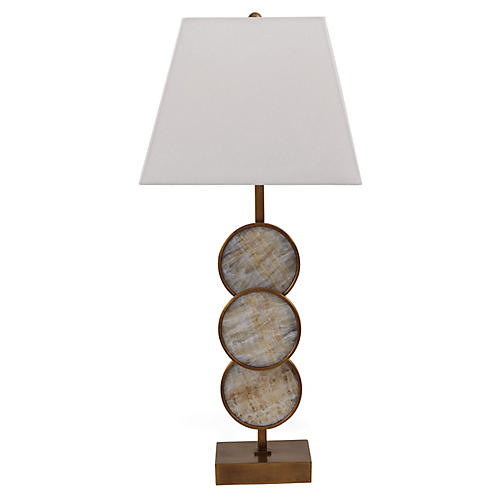 Titan Marble Table Lamp, Natural/Brass