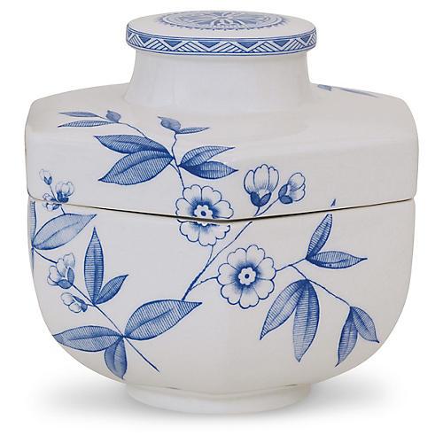 "8"" Temba Covered Bowl, Blue/White"