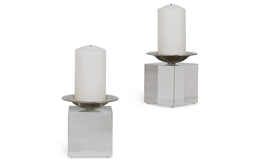 S/2 Emerson Crystal Candleholders, Clear/Nickel