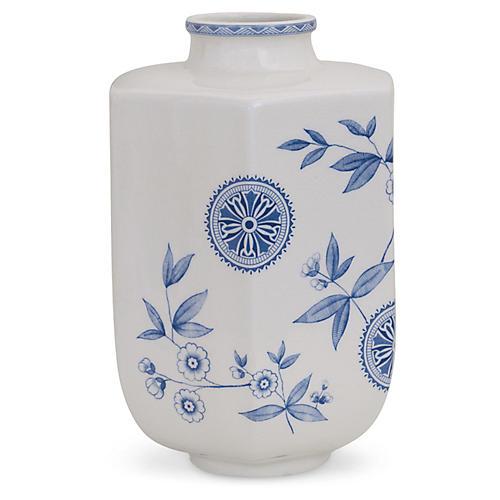 "13"" Temba Floral Vase, Blue/White"