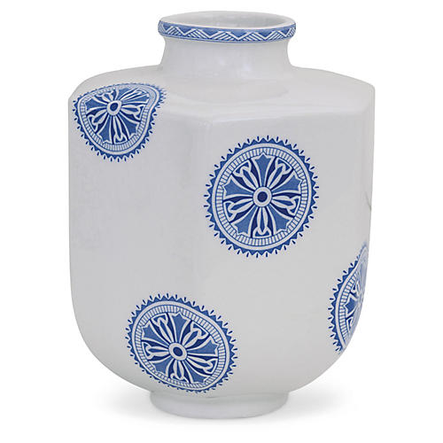 "9"" Temba Dot Vase, Blue/White"
