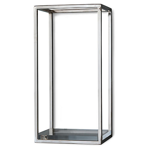 Drake Wall Shelf, Nickel/Clear
