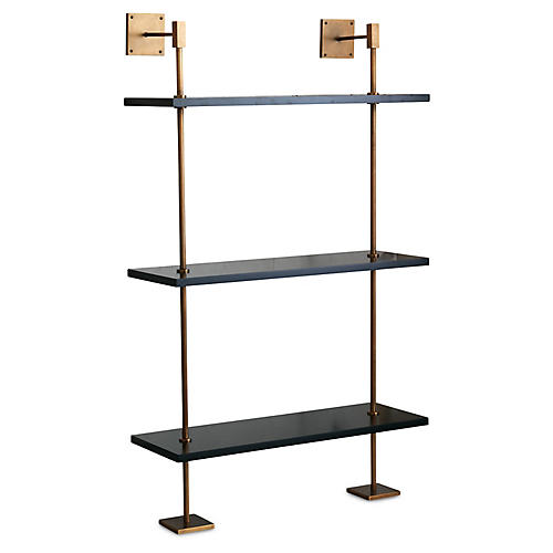 Marais Wall Shelving, Black/Brass