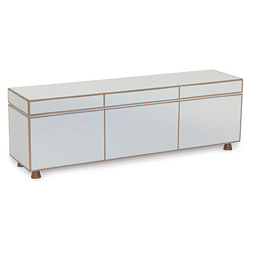 "24"" SoHo Box, White/Gold"