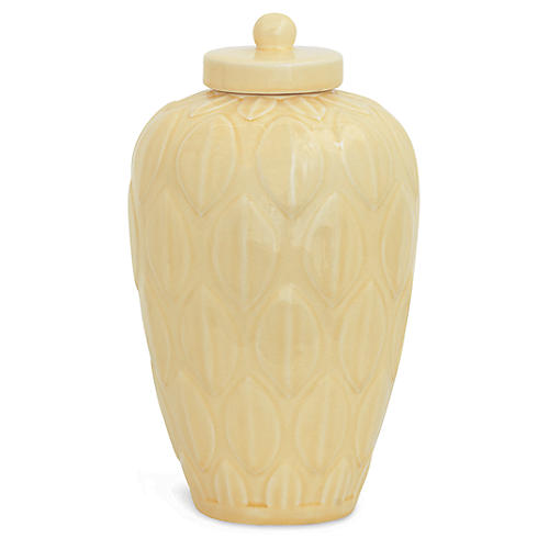 "15"" Bayleaf Jar, Yellow Crackle"