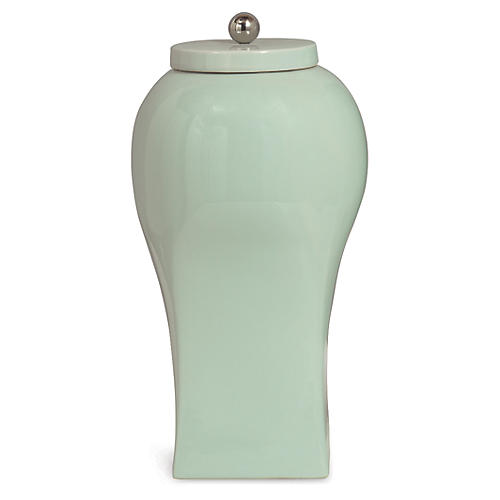 Boulevard Jar, Celadon/Nickel