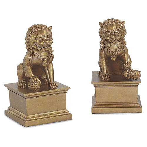 S/2 Foo Dog Bookends, Gold