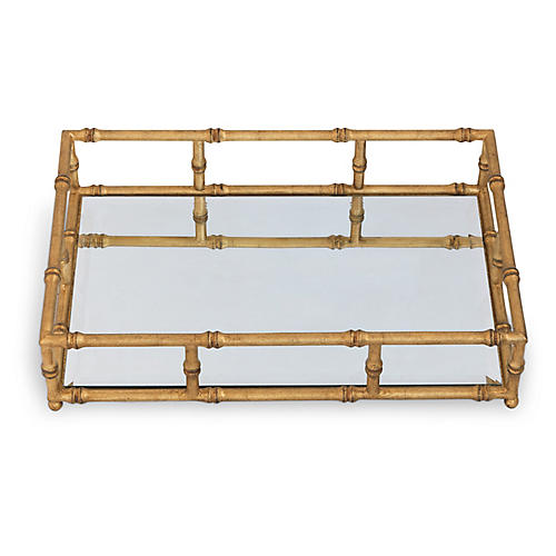 "24"" Doheny Tray, Gold/Mirror"