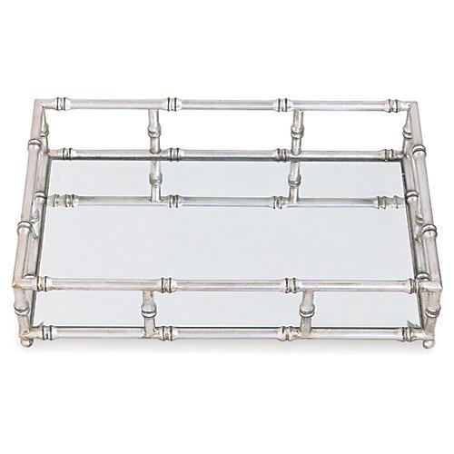 """24"""" Doheny Tray, Silver/Mirror"""