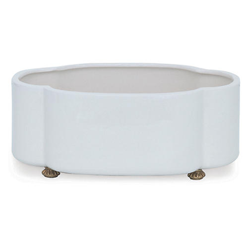 "14"" Carol Planter, Cream/Brass"