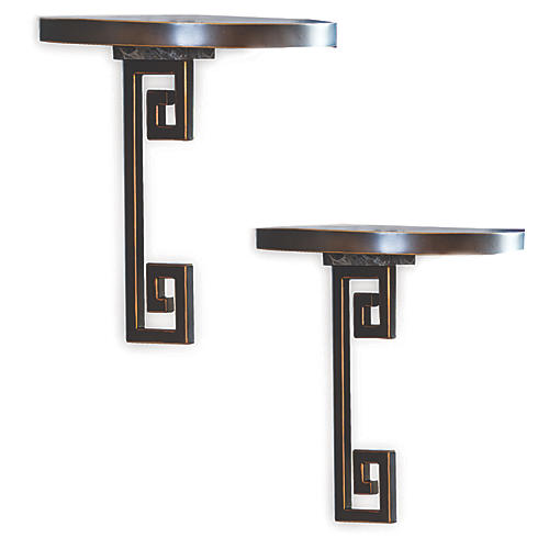 S/2 Mizner Wall Shelves, Bronze/Gray