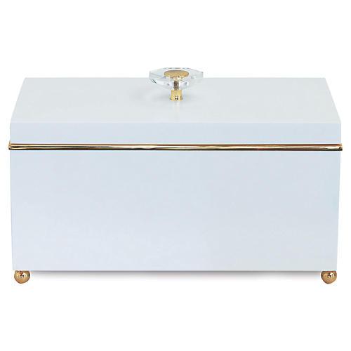 """15"""" Naples Box, White/Gold"""