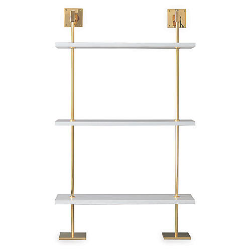 Marais 3-Tier Wall Shelf, White/Gold