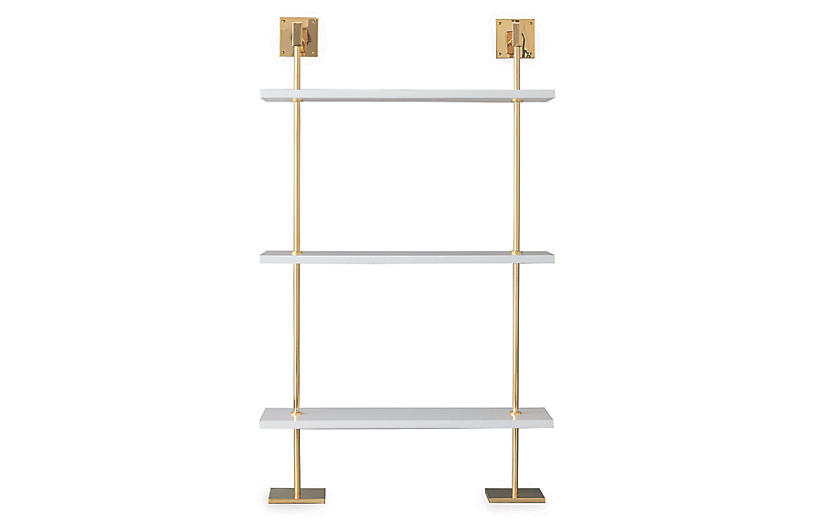 Marais 3-Tier Wall Shelf, White/Gold