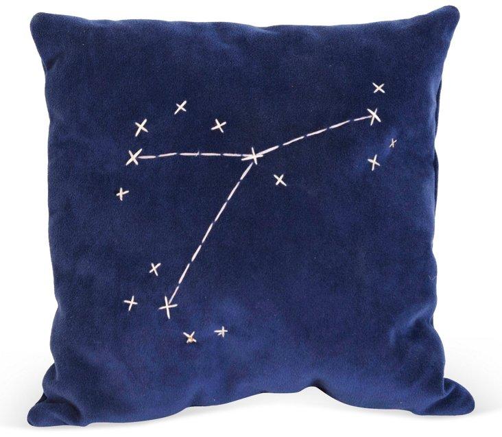 Blue Star Zodiac Signs Pillow- Cancer