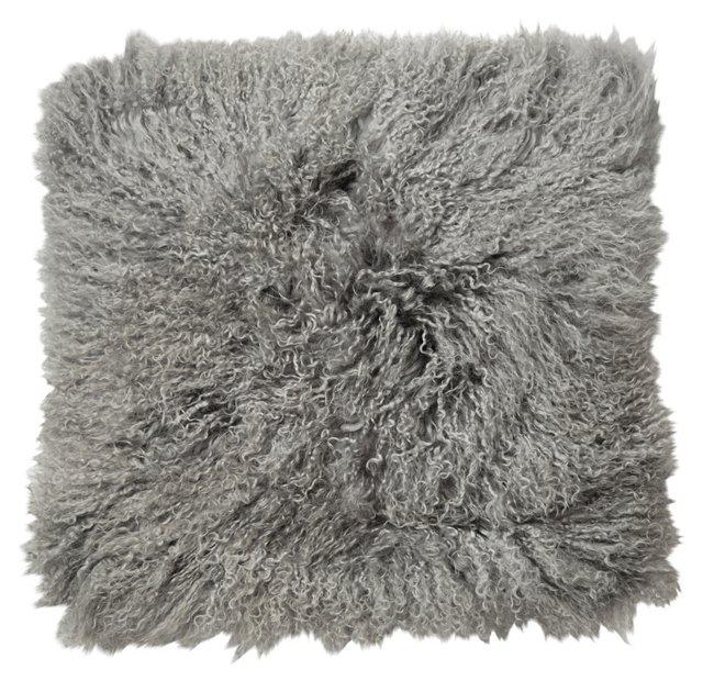 Mongolian 18x18 Lamb Pillow, Platinum