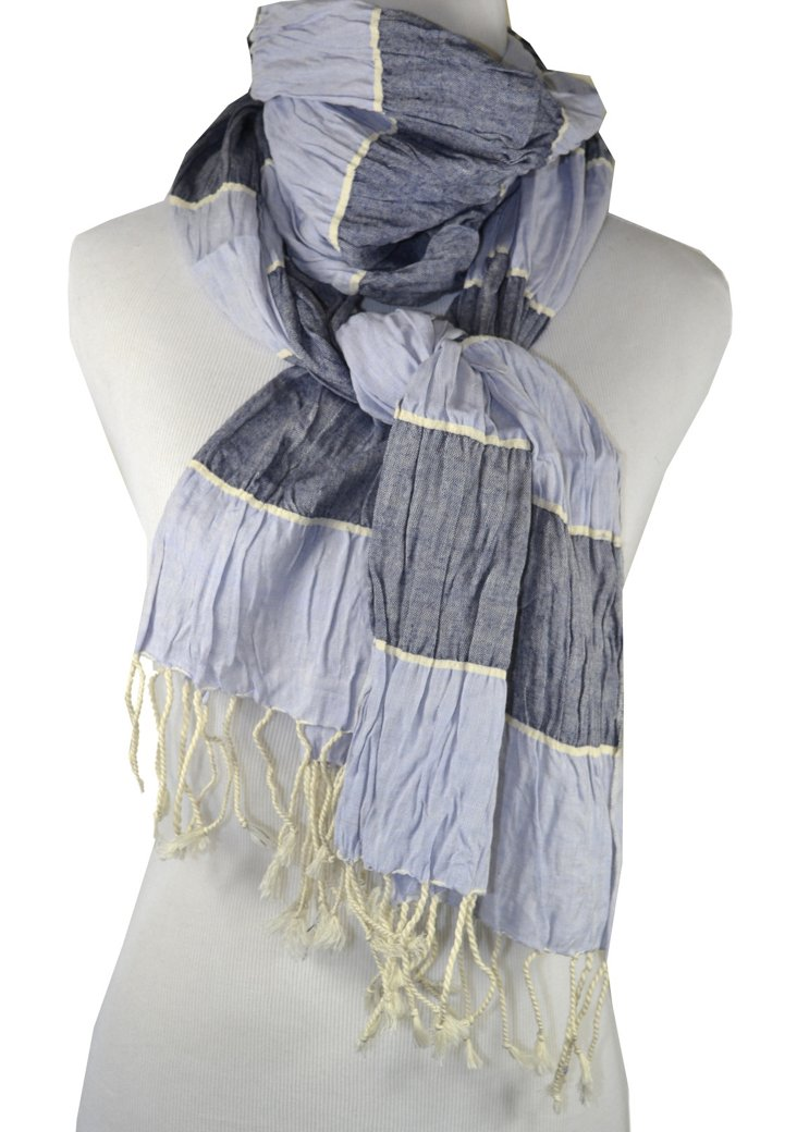 Muted Awning Stripe Scarf, Gray/Blue