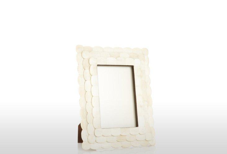 Double Scalloped Bone Frame, 4x6, Cream