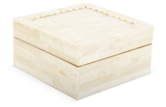"""6"""" Scalloped Jewelry Box, White"""