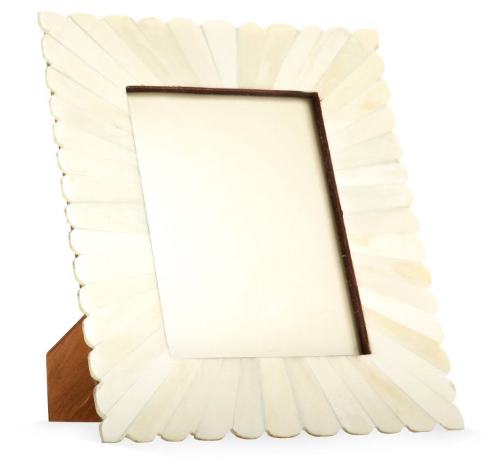 Scalloped Bone Burst Frame, 5x7, White