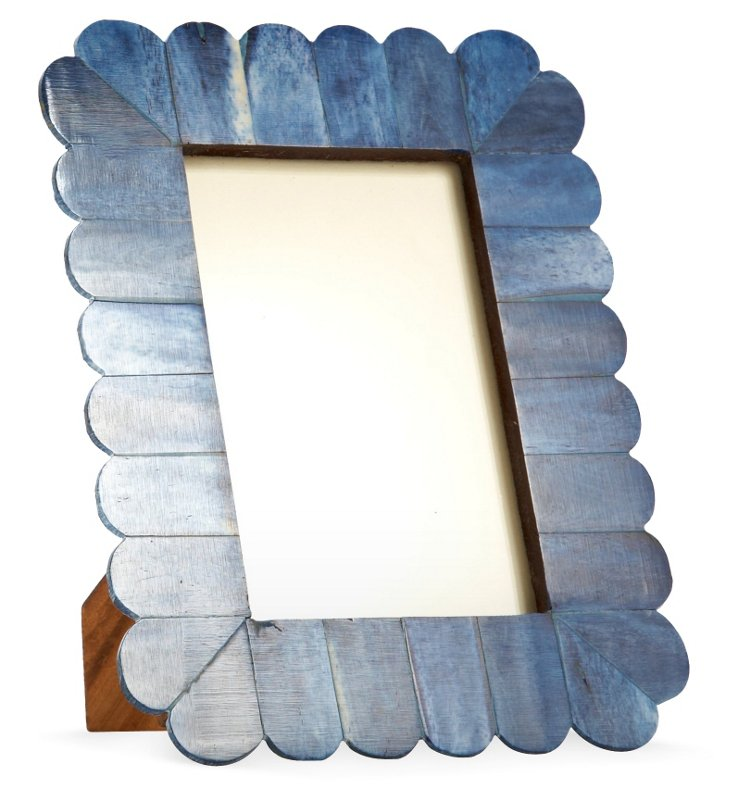 Arch Scalloped Bone Frame, 4x6, Blue