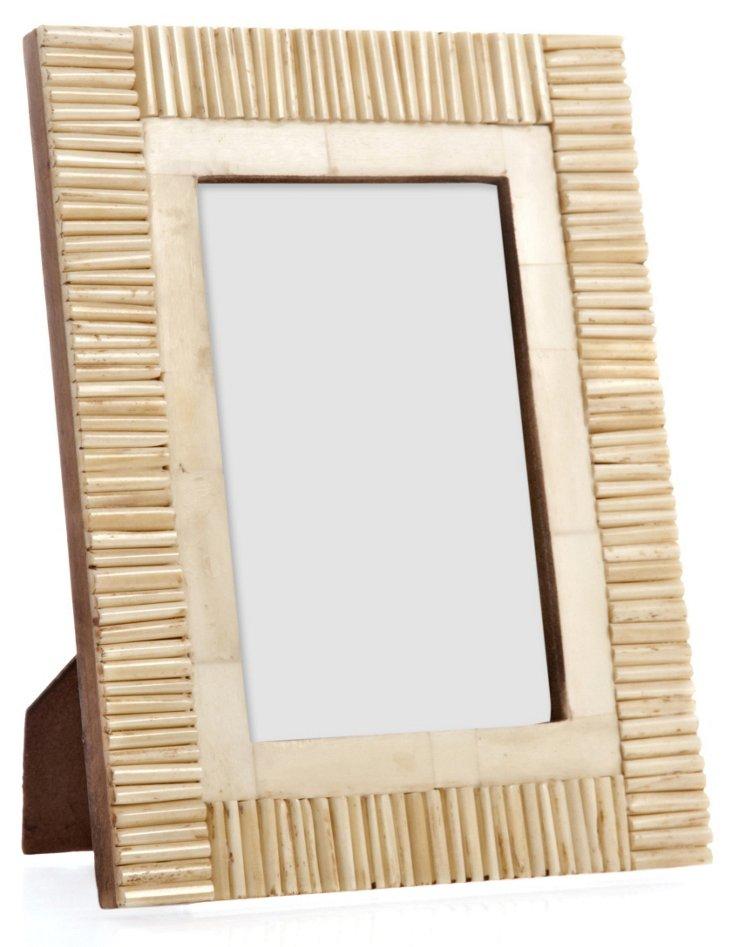 Matchstick Border Bone Frame, 4x6, Tan