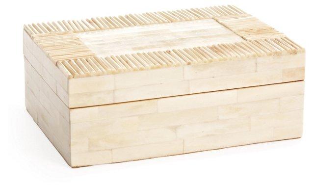 "8"" Matchstick Bone Jewelry Box, White"