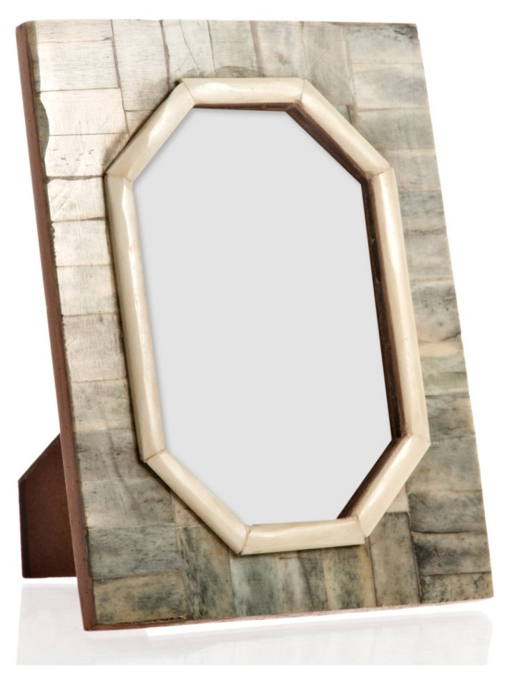 Hexagonal Cut Bone Frame, 4x6, Jade