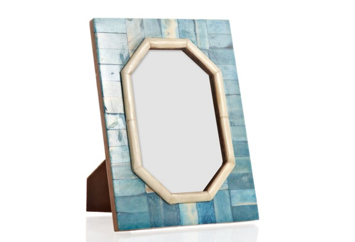 Hexagon Cut Bone Frame, 4x6, Ocean Blue