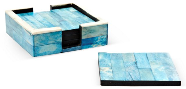 S/4 Ocean Blue Bone Coasters w/ Holder