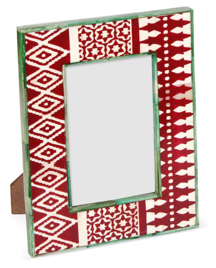 Cairo Print Bone Frame, 5x7, Red
