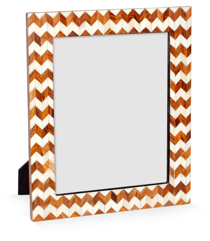 Sheesham Chevron Frame, 8x10, Brown
