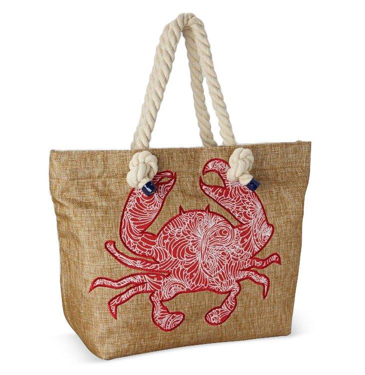 Rope Handle Crab Tote, Red/Tan