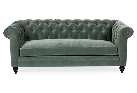 Rockport Chesterfield Sofa, Sage Velvet