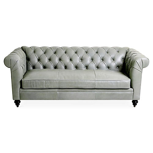 Rockport Chesterfield Sofa, Sage Leather