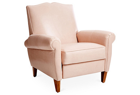 Hartford Club Recliner, Blush Leather