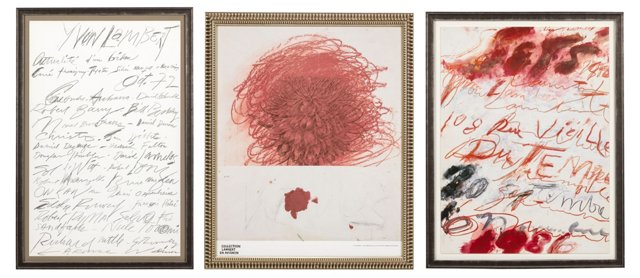Framed Cy Twombly Prints, Set of 3