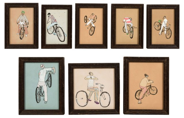 Cyclist Drawings, Set of 8
