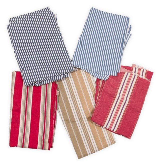 Vintage Ticking Fabric, 5 Pcs