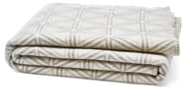 Optic Triad Wool-Blended Throw, Ivory